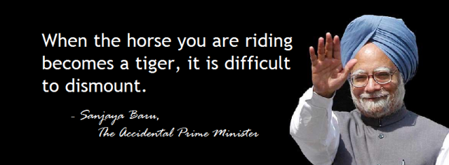 When the horse you are riding becomes a tiger it is difficult to dismount.
